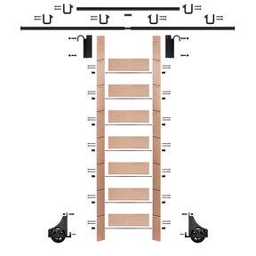 """92"""" Un-Finished Red Oak Library Ladder Black Sliding Hook Ladder Kit w/12' Rail"""