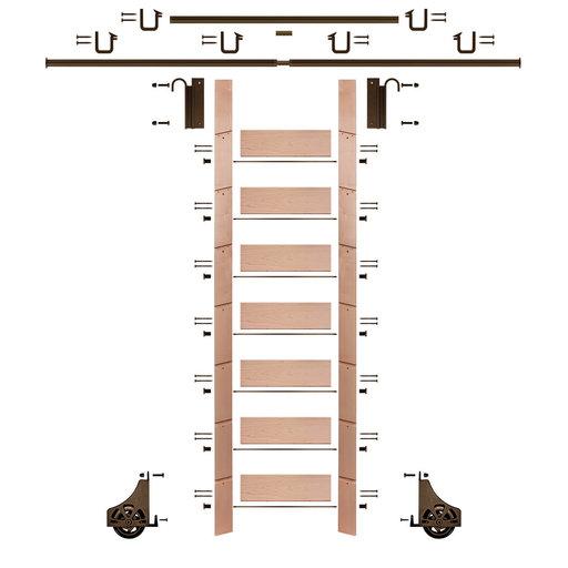 "View a Larger Image of 92"" Un-Finished Red Oak Library Ladder Bronze Sliding Hook Ladder Kit w/12' Rail"
