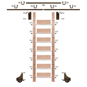 "92"" Un-Finished Red Oak Library Ladder Bronze Sliding Hook Ladder Kit w/12' Rail"