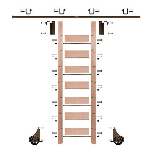 "View a Larger Image of 92"" Un-Finished Red Oak Library Ladder Bronze Sliding Hook Ladder Kit w/8' Rail"