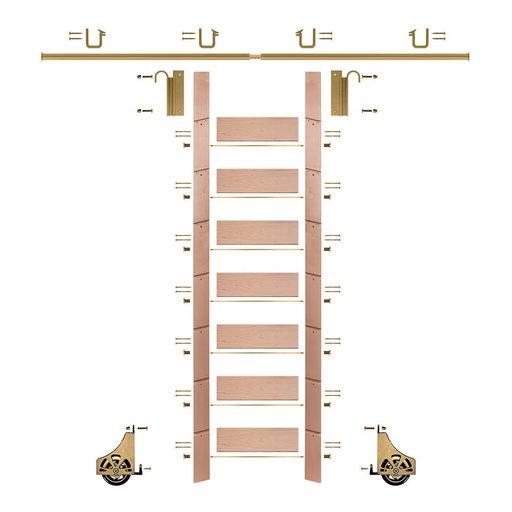 "View a Larger Image of 92"" Un-Finished Red Oak Library Ladder Polished Brass Sliding Hook Ladder Kit w/8' Rail"