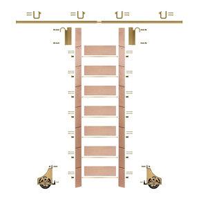 "92"" Un-Finished Red Oak Library Ladder Polished Brass Sliding Hook Ladder Kit w/8' Rail"