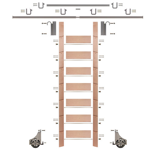 """View a Larger Image of 92"""" Un-Finished Red Oak Library Ladder Satin Nickel Sliding Hook Ladder Kit w/12' Rail"""