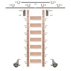 "92"" Un-Finished Red Oak Library Ladder Satin Nickel Sliding Hook Ladder Kit w/12' Rail"