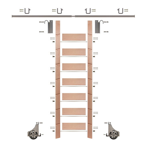 """View a Larger Image of 92"""" Un-Finished Red Oak Library Ladder Satin Nickel Sliding Hook Ladder Kit w/8' Rail"""