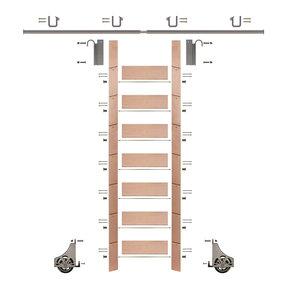 "92"" Un-Finished Red Oak Library Ladder Satin Nickel Sliding Hook Ladder Kit w/8' Rail"