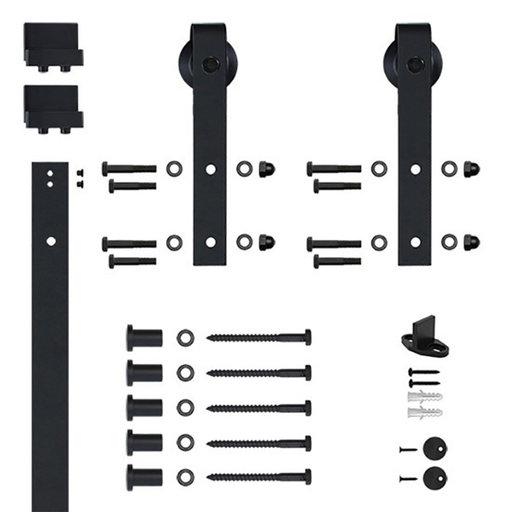 View a Larger Image of 96 in. Black Hook Strap Rolling Door Hardware Kit for Wood Door