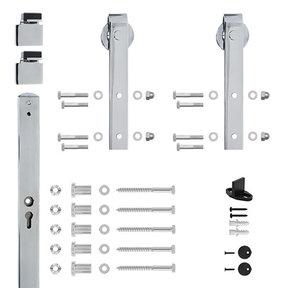 96 in. Chrome Hook Strap Rolling Door Hardware Kit for Wood Door