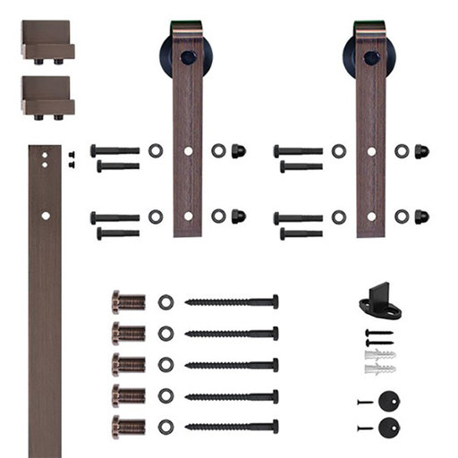 View a Larger Image of 96 in. Oil Rubbed Bronze Hook Strap Rolling Door Hardware Kit for Wood Door