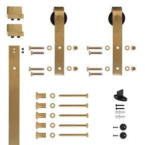 96 in. Satin Brass PVD Hook Strap Rolling Door Hardware Kit for Wood Door