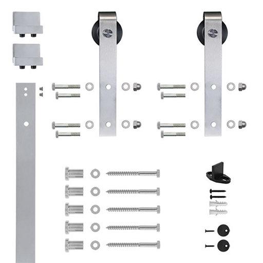 View a Larger Image of 96 in. Satin Nickel Hook Strap Rolling Door Hardware Kit for Wood Door