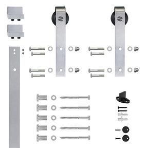 96 in. Satin Nickel Hook Strap Rolling Door Hardware Kit for Wood Door