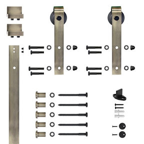 96 in. Soft-Close Antique Brass Hook Strap Rolling Door Hardware Kit for Wood Door