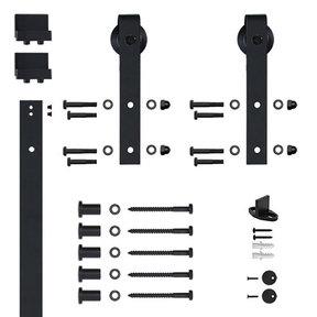 96 in. Soft-Close Black Hook Strap Rolling Door Hardware Kit for Wood Door