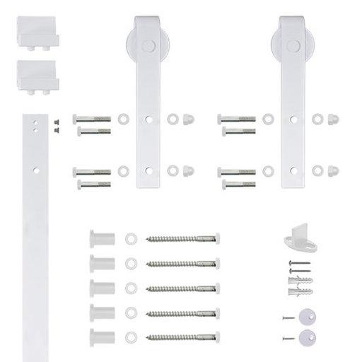 View a Larger Image of 96 in. Soft-Close White Hook Strap Rolling Door Hardware Kit for Wood Door