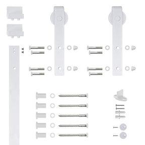96 in. Soft-Close White Hook Strap Rolling Door Hardware Kit for Wood Door