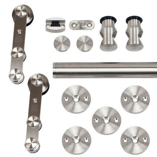 View a Larger Image of 96 in. Stainless Steel Strap Rolling Door Hardware Kit for Wood or Glass Door