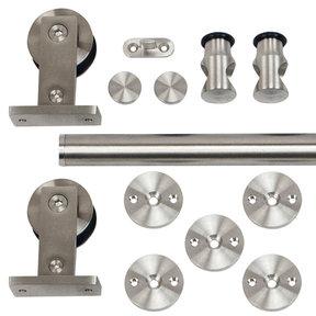 96 in. Stainless Steel Top Mount Rolling Door Hardware kit for Wood Doors