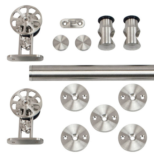 View a Larger Image of 96 in. Stainless Steel Top Mount Spoke Wheel Rolling Door Hardware Kit for Wood Doors