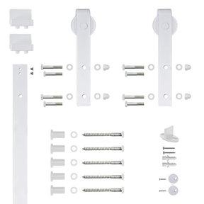 96 in. White Hook Strap Rolling Door Hardware Kit for Wood Door