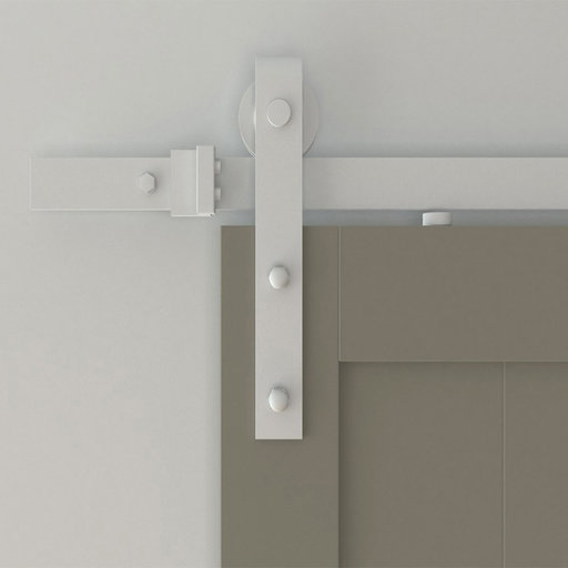 View a Larger Image of 96 in. White Hook Strap Rolling Door Hardware Kit for Wood Door