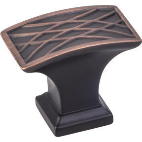 """Aberdeen Rectangle Lined Knob, 1-1/2"""" O.L., Brushed Oil Rubbed Bronze"""