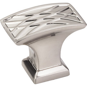 """Aberdeen Rectangle Lined Knob, 1-1/2"""" O.L., Satin Nickel"""