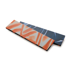 "Acrylic Knife Scale - 15/64"" x 1-1/2"" x 6"" - Blue & Orange"
