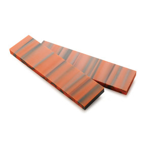 """Acrylic Knife Scale -  3/8"""" x 1-1/2"""" x 6"""" - Orange & Gray"""