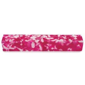 "Acrylic 3/4"" x 3/4"" x 5"" Pink & White Quartz Turning Stock"