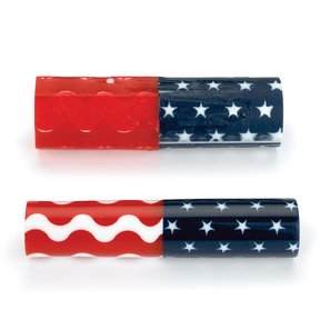 "Acrylic Pen Blank - 3/4"" x 3/4"" x 3"" - Stars & Wavy Stripes"