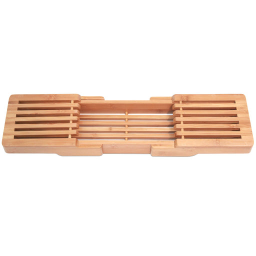 View a Larger Image of Adjustable 100% Natural Bamboo Wooden Bathtub Caddy with Extending Sides