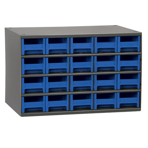 View a Larger Image of Akro-Mils 20 Drawer Steel Storage Cabinet with Blue Drawers