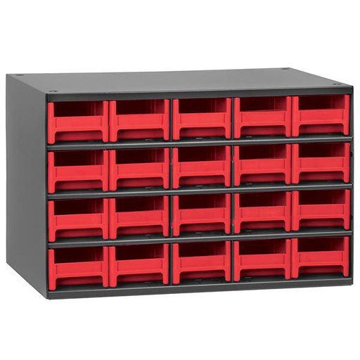 View a Larger Image of Akro-Mils 20 Drawer Steel Storage Cabinet with Red Drawers