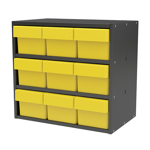 View a Larger Image of Akro-Mils Charcoal Gray Modular Cabinet with Yellow Model 31162 AkroDrawers