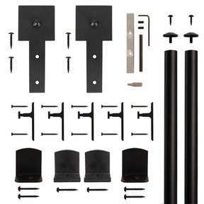 American Home Black Cube Stick Rolling Barn Door Hardware Kit with 6-ft. Rail