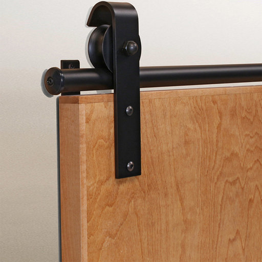 View a Larger Image of American Home Black Hook Rolling Barn Door Hardware Kit with 6-ft. Rail