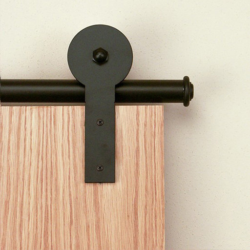 View a Larger Image of American Home Black Round Stick Rolling Barn Door Hardware Kit with 6-ft. Rail