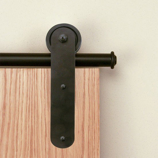 View a Larger Image of American Home Black Stick Rolling Barn Door Hardware Kit with 6-ft. Rail