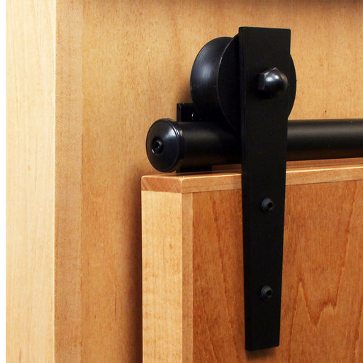 View a Larger Image of American Home Black Wedge Rolling Barn Door Hardware Kit with 6-ft. Rail