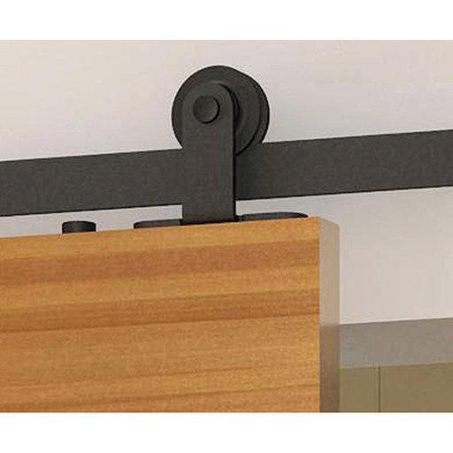 View a Larger Image of  Black Solid Steel Decorative, Sliding-Rolling Barn Door Hardware Kit for Single Wood Doors DOOR NOT INCLUDED