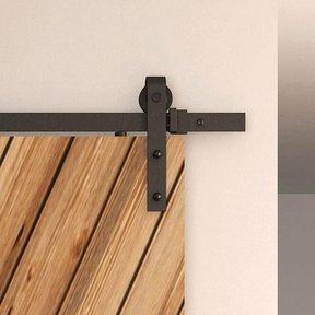 Black Solid Steel Decorative, Sliding-Rolling Barn Door Hardware Kit for Double Wood Doors With Fittings DOOR NOT INCLU