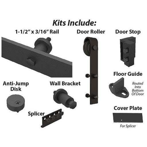 View a Larger Image of  Black Solid Steel Decorative, Sliding-Rolling Barn Door Hardware Kit for Double Wood Doors With Fittings DOOR NOT INCLU