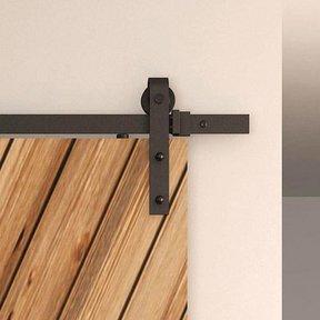 Black Solid Steel Decorative, Sliding/Rolling Barn Door Hardware Kit for Single Wood Doors DOOR NOT INCLUDED