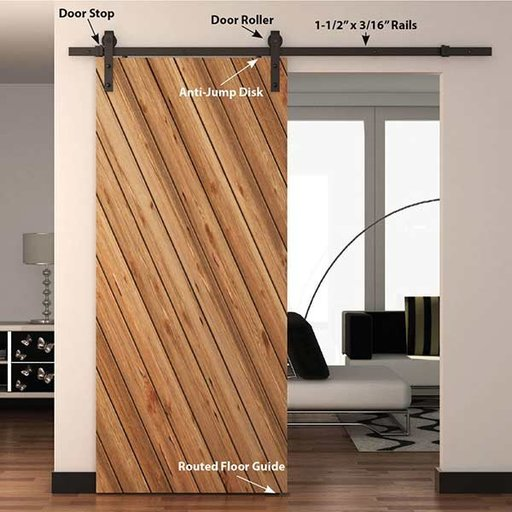 View a Larger Image of  Black Solid Steel Decorative, Sliding/Rolling Barn Door Hardware Kit for Single Wood Doors DOOR NOT INCLUDED