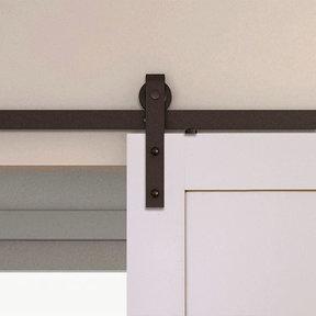 Espresso Solid Steel Decorative Sliding/Rolling Barn Door Hardware Kit for Single Wood Door  DOOR NOT INCLUDED