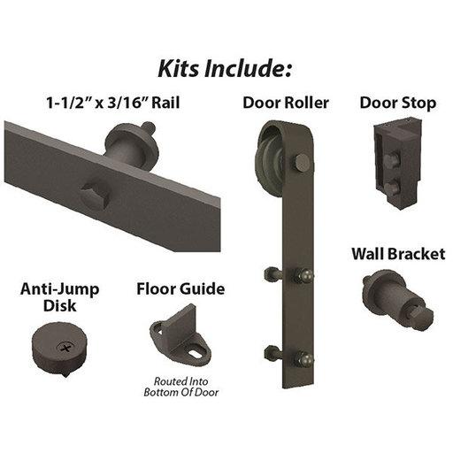 View a Larger Image of  Espresso Solid Steel Decorative Sliding/Rolling Barn Door Hardware Kit for Single Wood Door  DOOR NOT INCLUDED