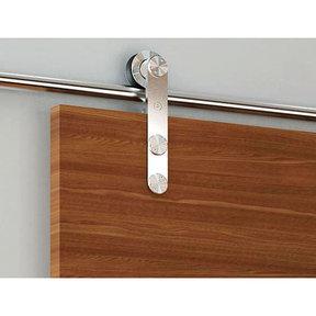 Stainless Steel -304  Grade- Decorative, Sliding-Rolling Barn Door Hardware Kit for Double Wood Doors DOORS NOT INCLUDE