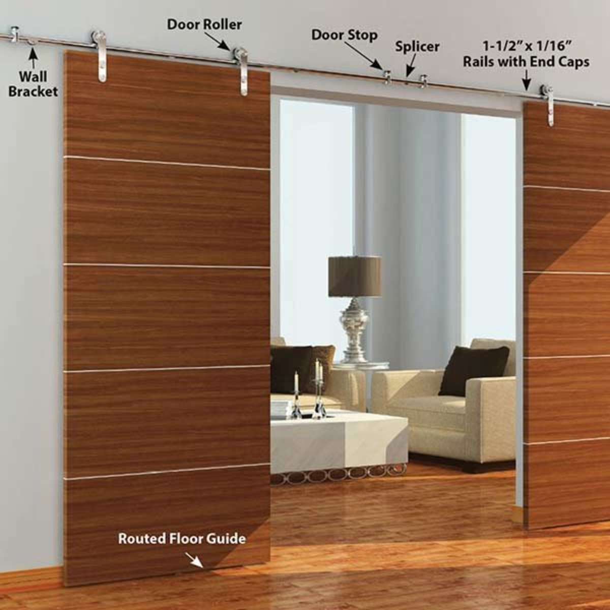 View a Larger Image of  Stainless Steel -304  Grade- Decorative, Sliding-Rolling Barn Door Hardware Kit for Double Wood Doors DOORS NOT INCLUDE