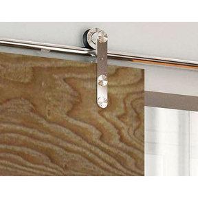 Stainless Steel -304  Grade- Decorative, Sliding-Rolling Barn Door Hardware Kit for Single Wood Door DOOR NOT INCLUDED